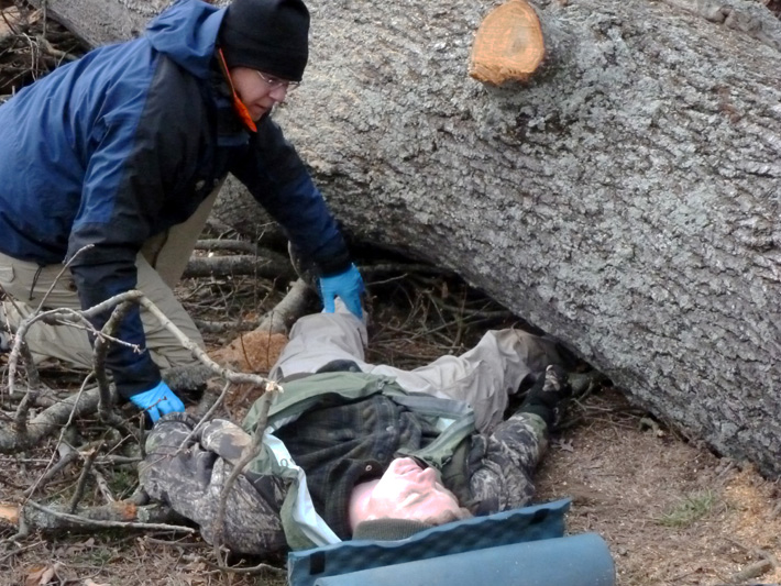 Performing a physical exam on a patient whose leg has been crushed beneath a fallen tree